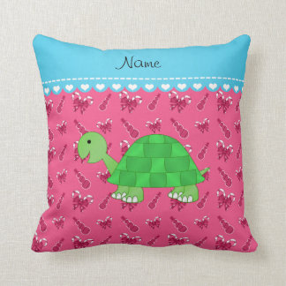Personalized name turtle pink snowman candy canes throw pillow