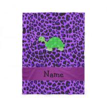 Personalized name turtle purple leopard pattern fleece blanket