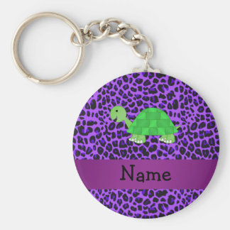 Personalized name turtle purple leopard pattern key chains