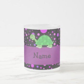 Personalized name turtle purple polka dots frosted glass coffee mug