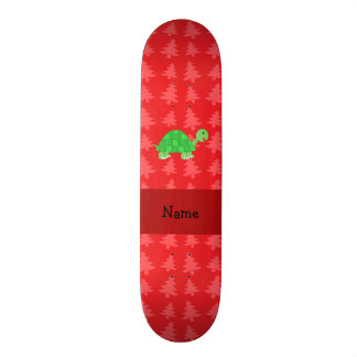 Personalized name turtle red christmas trees skateboards