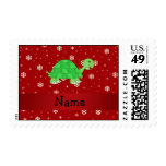 Personalized name turtle red snowflakes postage