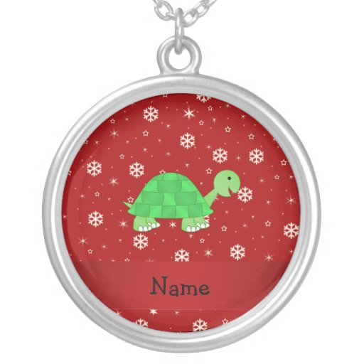 Personalized name turtle red snowflakes round pendant necklace