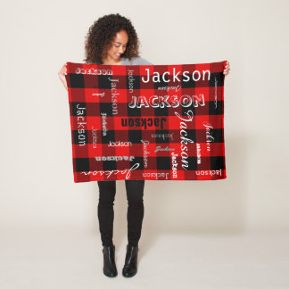 Personalized Name Typography Red Buffalo Plaid Fleece Blanket