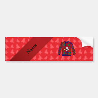 Personalized name ugly christmas sweater bumper stickers