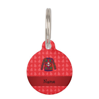 Personalized name ugly christmas sweater red trees pet name tags
