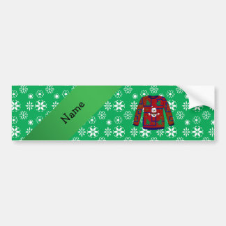 Personalized name ugly christmas sweater snowflake bumper sticker