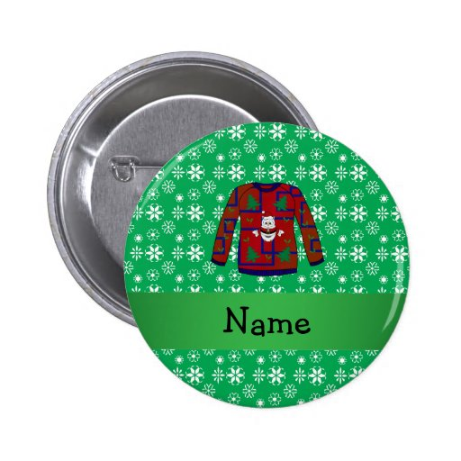 Personalized name ugly christmas sweater snowflake pinback button