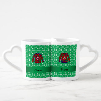 Personalized name ugly christmas sweater snowflake coffee mug set