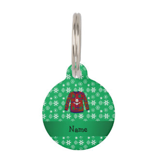Personalized name ugly christmas sweater snowflake pet tag