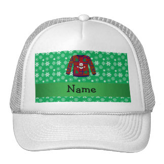 Personalized name ugly christmas sweater snowflake mesh hat