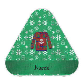 Personalized name ugly christmas sweater snowflake bluetooth speaker