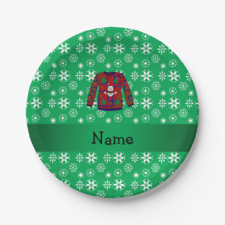 Personalized name ugly christmas sweater snowflake paper plate