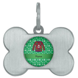 Personalized name ugly christmas sweater snowflake pet ID tags
