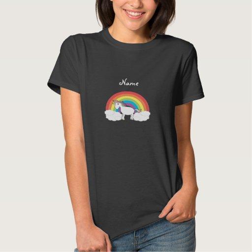 Personalized name Unicorn black tshirt