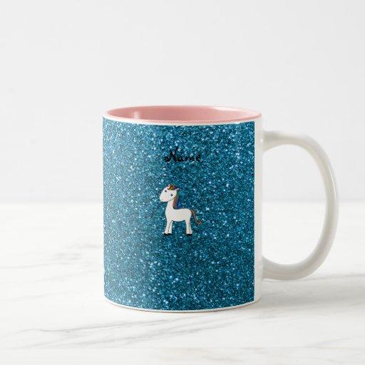 Personalized name unicorn blue glitter coffee mugs