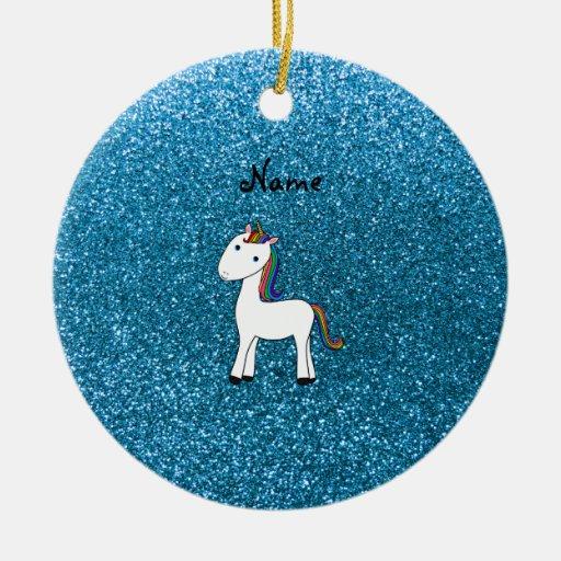 Personalized name unicorn blue glitter christmas ornament