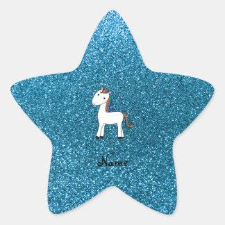 Personalized name unicorn blue glitter star stickers