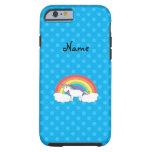 Personalized name unicorn blue polka dots tough iPhone 6 case