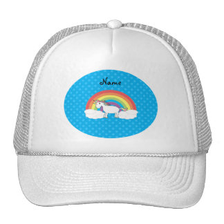 Personalized name unicorn blue polka dots trucker hats
