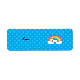 Personalized name unicorn blue polka dots return address labels