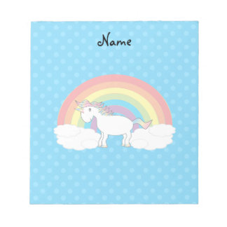 Personalized name unicorn blue polka dots note pads