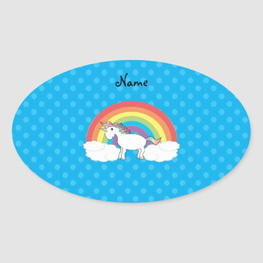 Personalized name unicorn blue polka dots oval sticker