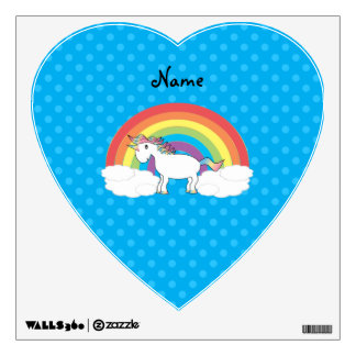 Personalized name unicorn blue polka dots room decals