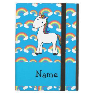Personalized name unicorn blue rainbows iPad cases