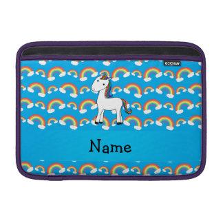 Personalized name unicorn blue rainbows MacBook sleeve