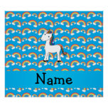 Personalized name unicorn blue rainbows poster