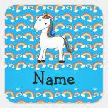 Personalized name unicorn blue rainbows square sticker
