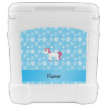 Personalized name unicorn blue snowflakes igloo rolling cooler