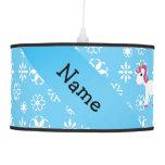 Personalized name unicorn blue snowflakes pendant lamp