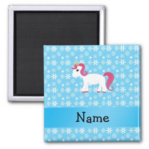 Personalized name unicorn blue snowflakes fridge magnet