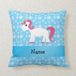 Personalized name unicorn blue snowflakes pillow