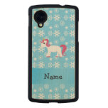 Personalized name unicorn blue snowflakes carved® maple nexus 5 case