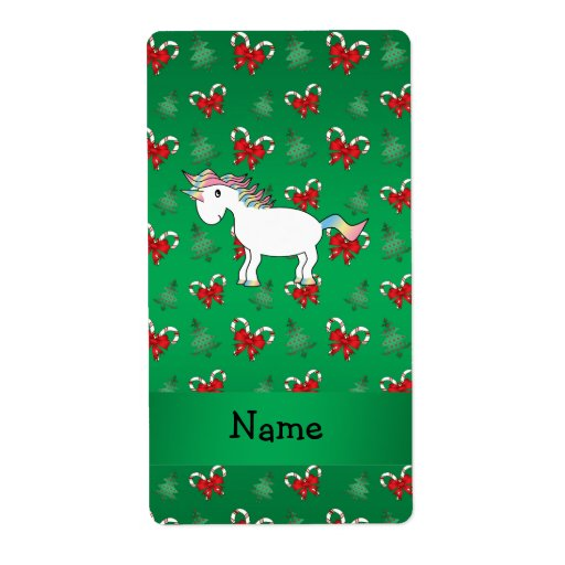 Personalized name unicorn green candy canes bows personalized shipping label