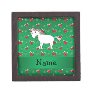Personalized name unicorn green candy canes bows premium gift boxes