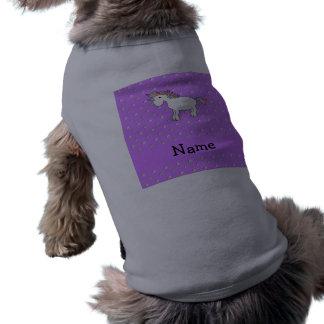 Personalized name unicorn pastel purple diamonds dog tee