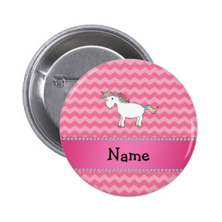 Personalized name unicorn pink chevrons pinback buttons