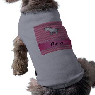 Personalized name unicorn pink chevrons dog clothing