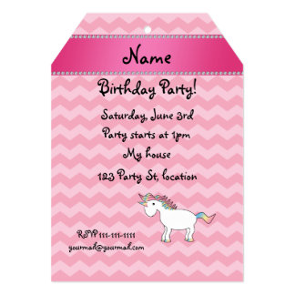 Personalized name unicorn pink chevrons card