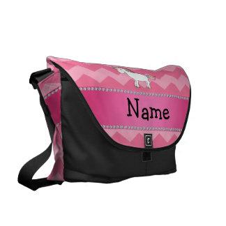 Personalized name unicorn pink chevrons messenger bag