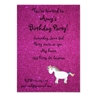 Personalized name unicorn pink glitter 4.5x6.25 paper invitation card