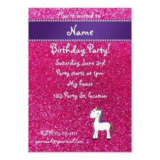 Personalized name unicorn pink glitter card