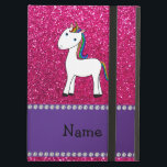 "Personalized name unicorn pink glitter cover for iPad air<br><div class=""desc"">Cute animal rainbow hair unicorn on a neon hot pink glitter (not real glitter) pattern background and purple stripe. Personalized with your name gifts or monogram gifts or your initials. Cute unicorn gift ideas for kids, boys and girls. Ideal for birthday&#39;s party. If you hit the customize it button you...</div>"