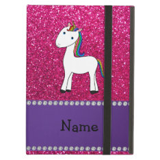Personalized Name Unicorn Pink Glitter Cover For Ipad Air at Zazzle