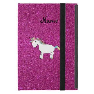 Personalized name unicorn pink glitter covers for iPad mini