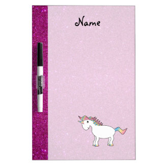 Personalized name unicorn pink glitter dry erase whiteboards